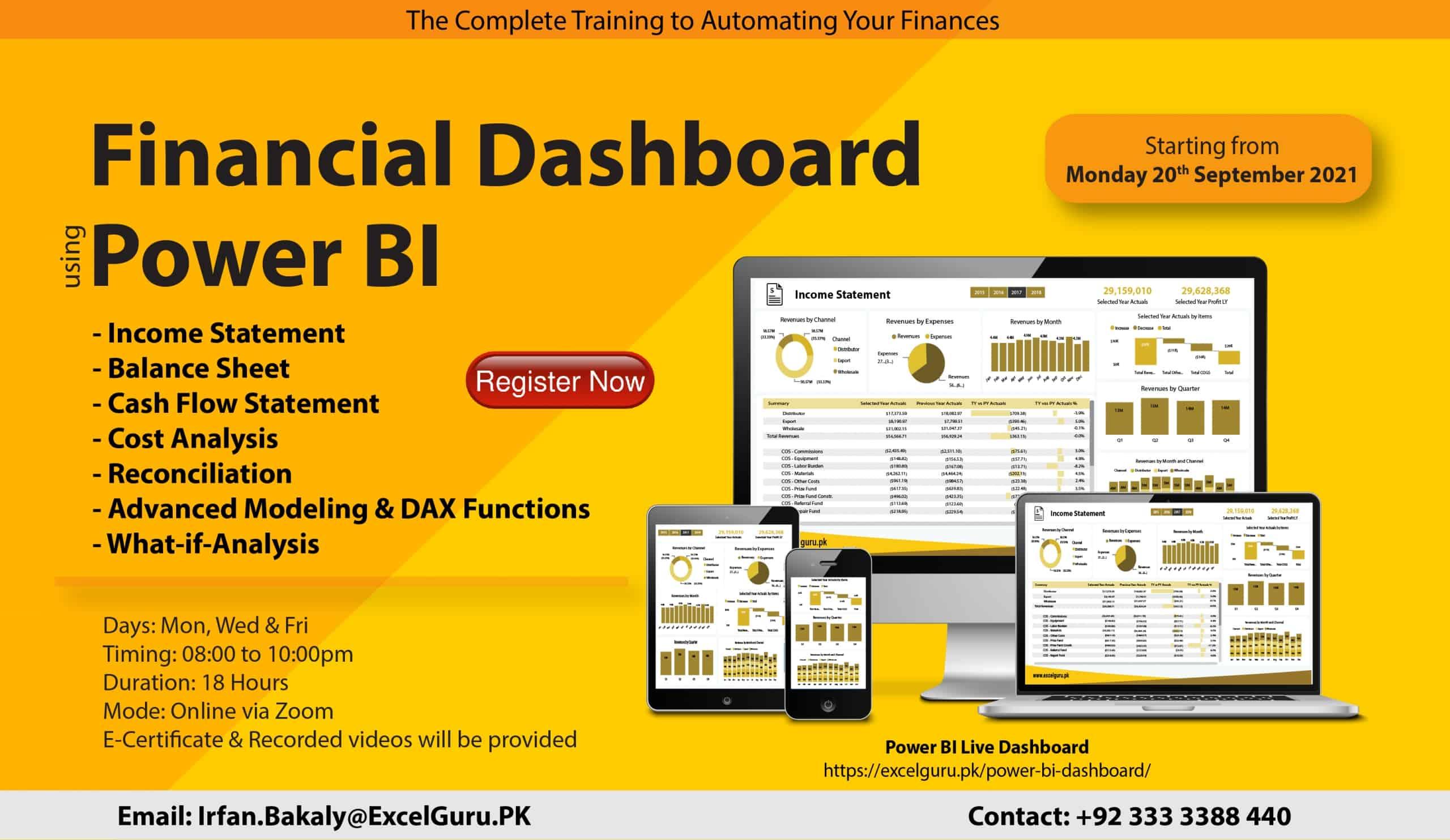 Financial Dashboard in Power BI - Sep 2021